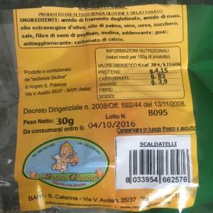 Taralli  per celiaci (con olio di palma) offerti il 19 maggio
